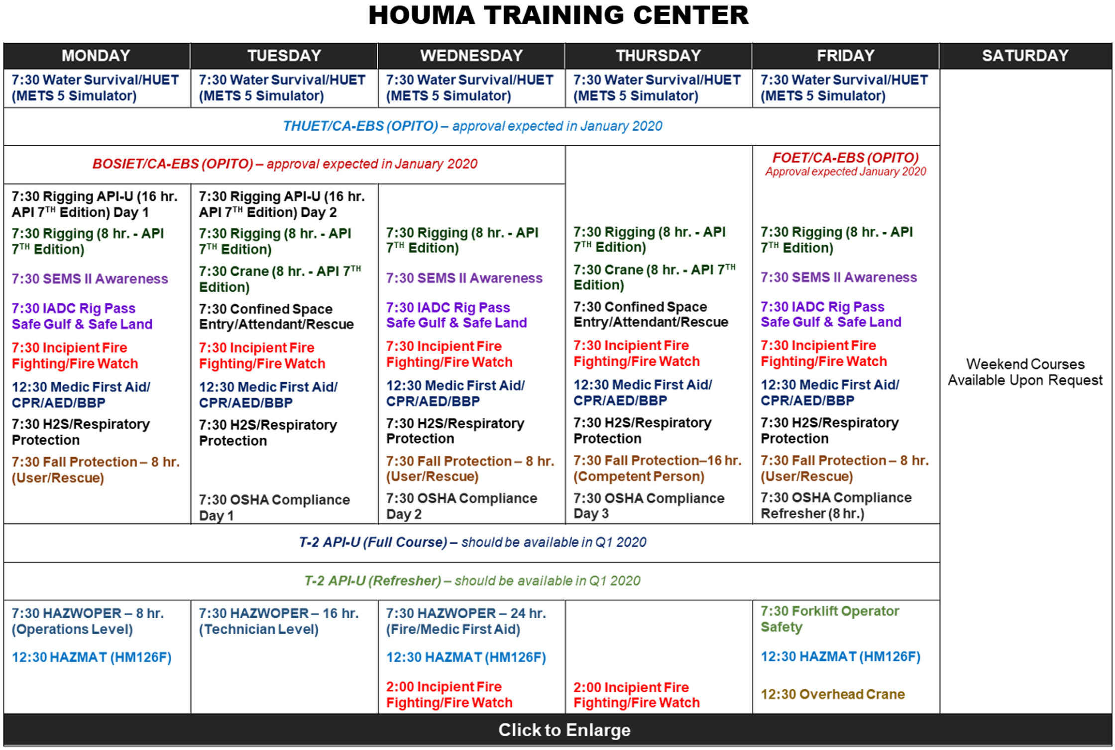 Training Schedule - M&A Safety Services - Safety Training for Oil & Gas Industry Lafayette LA